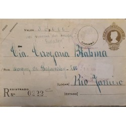 A) 1930, BRAZIL, POSTAL STATIONARY, SHIPPING TO RIO DE JANEIRO, REGISTERED 0222, LIBERTY STAMP