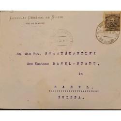 A) 1940, BRAZIL, FROM RIO DE JANEIRO TO SWITZERLAND, FLORIANO STAMP