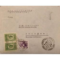 A) 1935, BRAZIL, VIA LUFTHANSA, CONDOR ZEPPELIN, FROM SAO PAULO TO GERMANY, AIRMAIL