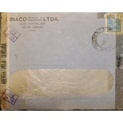 A) 1944, BRAZIL, CENSORSHIP, FROM RIO DE JANEIRO, WHEAT STAMP