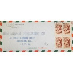 J) 1947 MEXICO, SYMBOL OF FLIGHT, BLOCK OF 4, INTERNATIONAL FORWARDING, AIRMAIL, CIRCULATED COVER