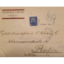 A) 1937, BRAZIL, FROM PERNAMBUCO TO BERLIN-GERMANY, DEODORO STAMP