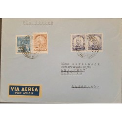 A) 1941, BRAZIL, VIA CONDOR, FROM SAO PAULO TO GERMANY, AIRMAIL, COMMERCE, EDUCATION AND ROY BARBOSA STAMPS