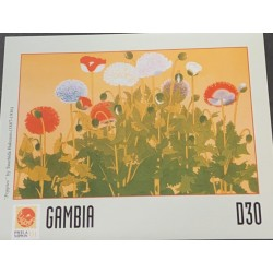 A) 2001, GAMBIA, FLOWERS, TOKYO, PHILANIPPON, INTERNATIONAL PHILATELIC EXHIBITION, MULTICOLORED