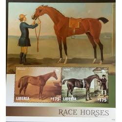 A) 2014, LIBERIA, HORSES RACES, SOUVENIR SHEET, MULTICOLORED