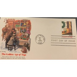 A) 1980, UNITED STATES, FDC, THE GOLDEN AGE OF TOYS, SEASONS GREETINGS