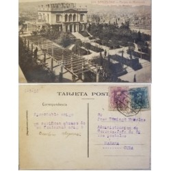 A) 1926, SPAIN, POSTCARD, FROM BARCELONA TO CARIBBEAN, MONTJUICH PARK