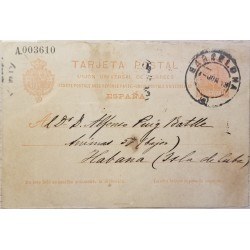 A) 1923, SPAIN, POSTAL STATIONARY, FROM BARCELONA TO CARIBBEAN KING ALFONSO XII STAMP