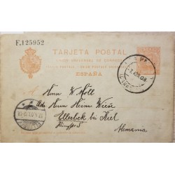 A) 1908, SPAIN, POSTAL STATIONARY, FROM ISLA CANELA TO GERMANY, KING ALFONSO III STAMP
