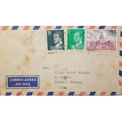 A) 1981, SPAIN, FROM CORUÑA TO CARIBBEAN, AIRMAIL, SLOGAN CANCELATION, TRUST YOUR SAVINGS POSTAL BOX