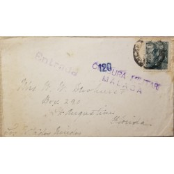 A) 1929, SPAIN CENSORSHIP MILITARY, FROM MALAGA TO FLORIDA-UNITED STATES, KING ALFONSO III STAMP