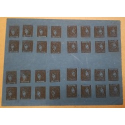 A) 1871, ARGENTINA CORRIENTES, CERES, 3Cts, BLACK ON DARK BLUE, BLOCK OF 32