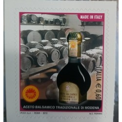 A) 2012, ITALY, BALSAMIC VINEGAR OF MODENA, SELF-ADHESIVE, MULTICOLORED, PUNCHED DRILLING IN SERPENTINE