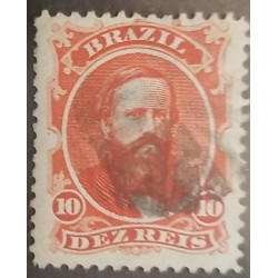 A) 1866, BRAZIL, DOM PEDRO, Sc53, USED MUTE CORK CANCELATION, 10R, RED