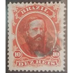 A) 1866, BRAZIL, DOM PEDRO, MUTE CANCELLATION, 10R, RED