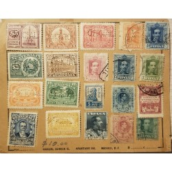 A) 1928, SPAIN, PERFINS GUATEMALA AND SPAIN, FROM BARCELONA TO MEXICO, MULTIPLE STAMPS