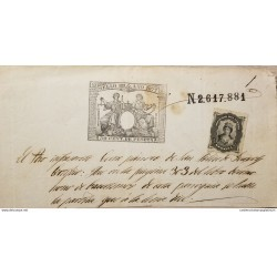 A) 1877, SPAIN, GERONA SPAIN, REVENUE PAPER, BLACK STAMP WITH 'SOCIEDED DEL TIMBRE'
