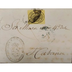 A) 1856, SPAIN, OFICIAL MAIL, COVER SHIPPED TO CARIBBEAN, ½ ONZA, SEAL IN BLACK ON YELLOW, CANCELATION