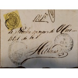 A) 1856, SPAIN, COVER SHIPPED TO CARIBBEAN, OFICIAL MAIL, ½ ONZA, SEAL IN BLACK ON YELLOW, CANCELATION
