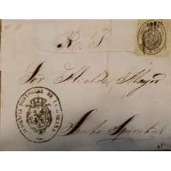 A) 1856, SPAIN, OFICIAL MAIL, COVER SHIPPED TO SANCTI SPIRITUS-CARIBBEAN, ½ ONZA, SEAL IN BLACK ON YELLOW, CANCELATION
