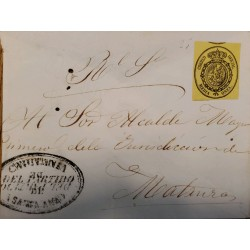 A) 1856, SPAIN, OFICIAL MAIL, COVER SHIPPED TO MATANZA-CARIBBEAN, ½ ONZA, SEAL IN BLACK ON YELLOW