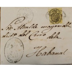 A) 1859, SPAIN, OFICIAL MAIL, COVER SHIPPED TO CARIBBEAN, ½ ONZA, SEAL IN BLACK ON YELLOW, CANCELATION