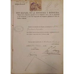 A) 1894, SPAIN, FISCAL POLICY, 2 PECETAS, CLASS 11a, CERTIFICED, MADRID