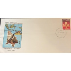M) 1983 CHRISTMAS ISLAND, INDIAN OCEAN, CANDLES, RED, CHRISTMAS GRETINGS. STANDARD PHILAPELIC COVER