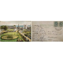 A) 1910, SPAIN, POSTCARD, FROM CANARIAS TO UNITED STATES, LAS PALMAS CEMETERY, ALFONSO XIII MEDALLION TYPE STAMP