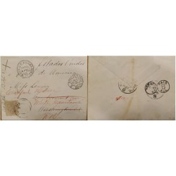A) 1887, SPAIN, COVER SHIPPED TO UNITED STATES, CANCELLED PAID B ALL, NEW YORK, BORDEAUX TO PARIS, KING ALFONSO XII STAMP
