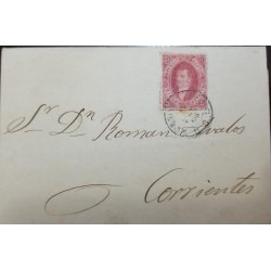A) 1865, ARGENTINA, FROM BUENOS AIRES TO CORRIENTES, FULL COVER OF CARD 5C,