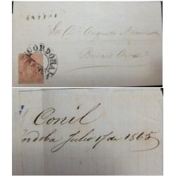 A) 1865, ARGENTINA, FROM BUENOS AIRES TO CORDOBA FRANCA, RIVADAVIA STAMPS