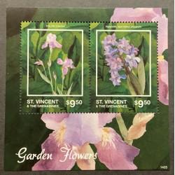 M) 2016 ST. VICENT & THE GRANADINES, GARDEN FLOWERS, IRIS, IRIS CROATICA, HYACINTH, HYACINTHUS ORIENTALIS