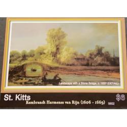 M) 2009ST. KITTS. REMBRAN (1606 – 1669), LANDSCAPE WITH A STONE BRIDGE C.1637