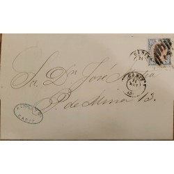 A) 1915 CIRCA, SPAIN, COVER SHIPPED FROM CADIZ, QUEEN ISABELLA II STAMP