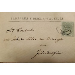 A) 1915, SPAIN, FROM VALENCIA TO PHILADELPHIA-UNITED STATES, KING ALFONSO XII STAMP