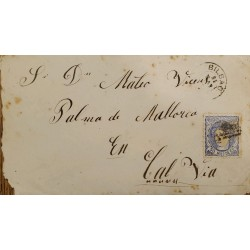 A) 1915, SPAIN, FROM BILBAO TO PALMA DE MALLORCA, QUEEN ISABEL II STAMP