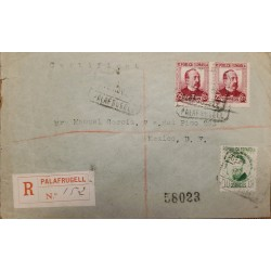 A) 1921, SPAIN, CERTIFIED, COVER SHIPPED TO MEXICO, CANCELATION PALAFRUGELL