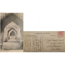 A) 1919, SPAIN, POSTCARD, FROM GRANADA TO CARIBBEAN, GRANADA JUSTICE ROOM, KING ALFONSO XII STAMP
