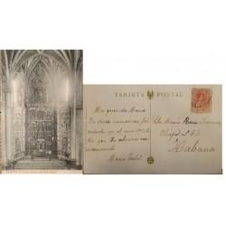 A) 1913, SPAIN, POSTACARD, FROM SEGOVIA TO CARIBBEAN, HIGH ALTAR
