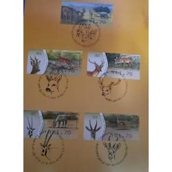 A) 2011, ISRAEL, DEER, CARMEL, ROE, GAZALLE, WHITE ONYX, CANCELATION, 5 STAMPS