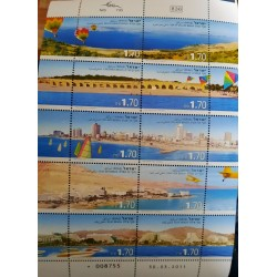 A) 2011, ISRAEL, BEACHES, STAMPS ISSUED ON A SHEET, SEA OF GALILEE, TEL AVIV, DEAD SEA, EILAT, MULTICOLORED