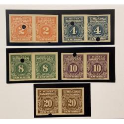 A) 1915, COSTA RICA, PORTOMARKEN, SCOTT J9/J13, POSTAGE DUES, THE COMPLETE SET OF FIVE VALUES
