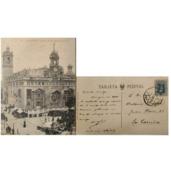 A) 1925, SPAIN, POSTCARD, FROM VALENCIA TO LA CORUÑA, KING ALFONSO XIII STAMP, CHURCH OF THE SAINTS JUANES PHOTOGRAPHY