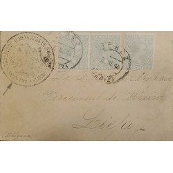 A) 1894, SPAIN, FROM CADIZ TO BELGIUM, CANCELLATION VICECONSUL DE MEXICO, KING ALFONSO XIII STAMPS