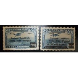 A) 1945, COSTA RICA AIRMAIL WITH OVERPRINT IN BLACK, MISSING THE VALUE, AMERICAN BANKNOTE, MNH
