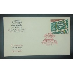 A) 1990, MEXICO, MEXICAN PHILATELY ASSOCIATION, FDC, RED CANSELLATION SEAL X PHILATELIC ANNIVERSARY