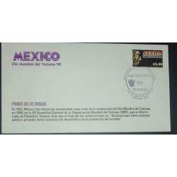 A) 1998, MEXICO, FDC, WORLD TOURISM DAY, POSTMARK