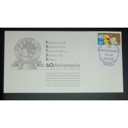A) 1998, MEXICO, FEDERATION OF STATE WORKERS UNIONS, FDC, POSTMARK OF THE 60TH ANNIVERSARY OF THE FEDERATION