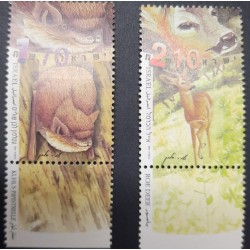 A) 2001, ISRAEL, LIGHT EDGE BAT AND DEER, MNH, PROTECTED SPECIES